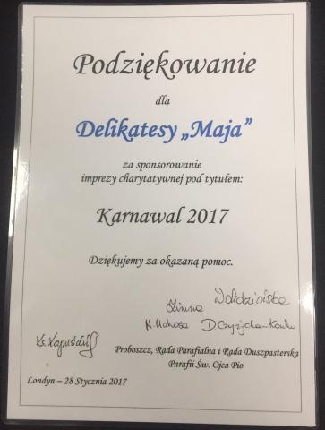 Certyfikat Podziekowanie Karnawal