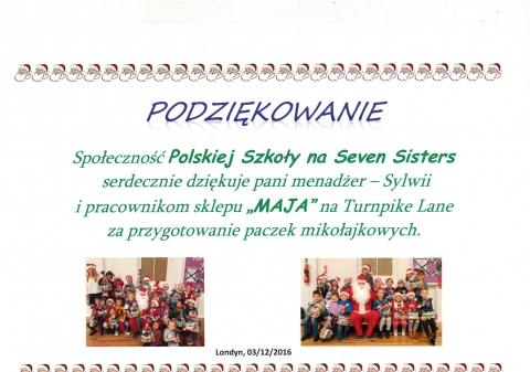 Certyfikat Podziekowanie Szkola Seven Sisters